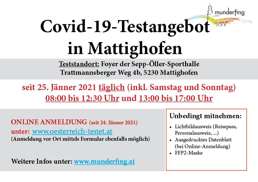 Dieses Bild zeigt ein Plakat mit Informationen zum Covid-19-Testangebot in Mattighofen.