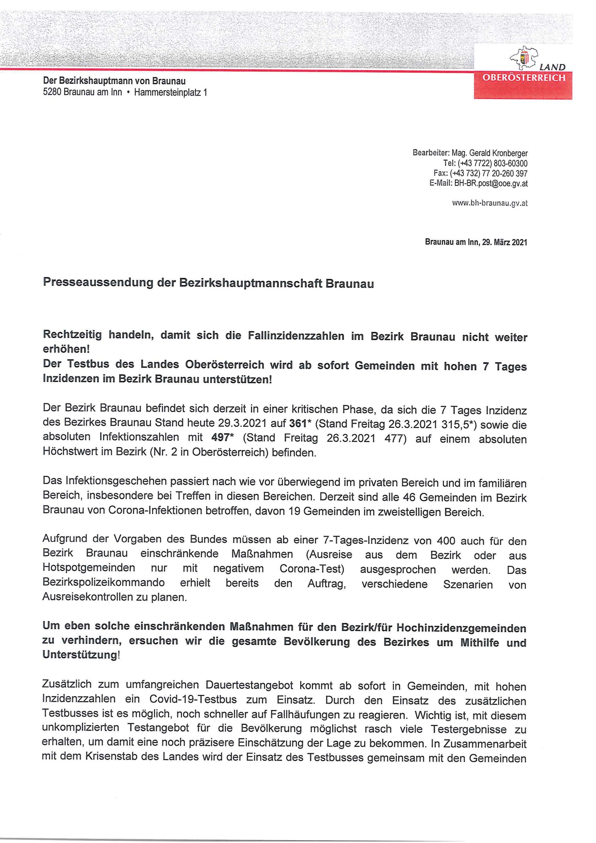 Dieses Bild zeigt eine Presseaussendung der BH Braunau.