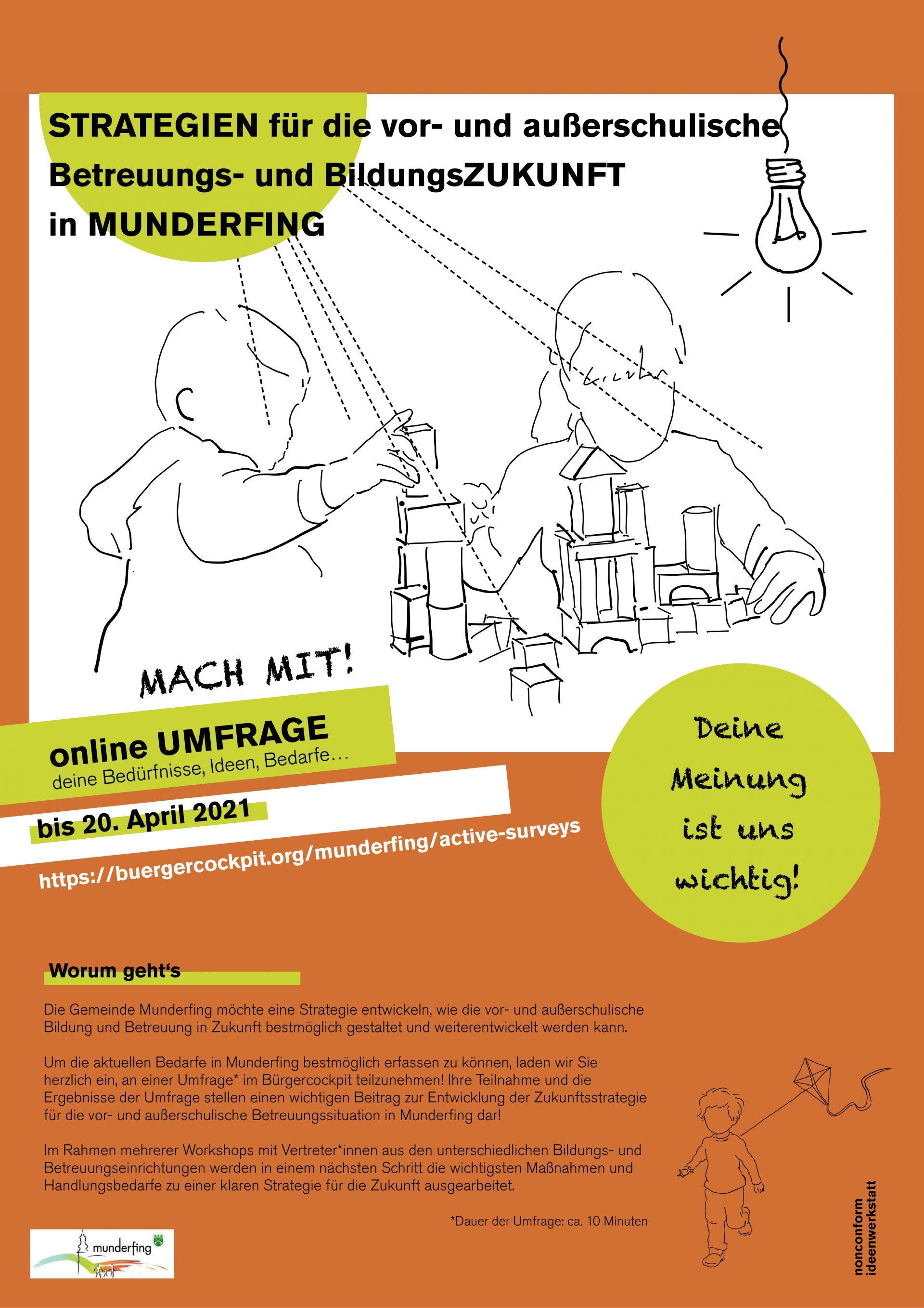 """Dieses Bild zeigt das Plakat """"Strategien für die vor- und außerschulische Betreuungs- und BildungsZUKUNFT in MUNDERFING""""."""