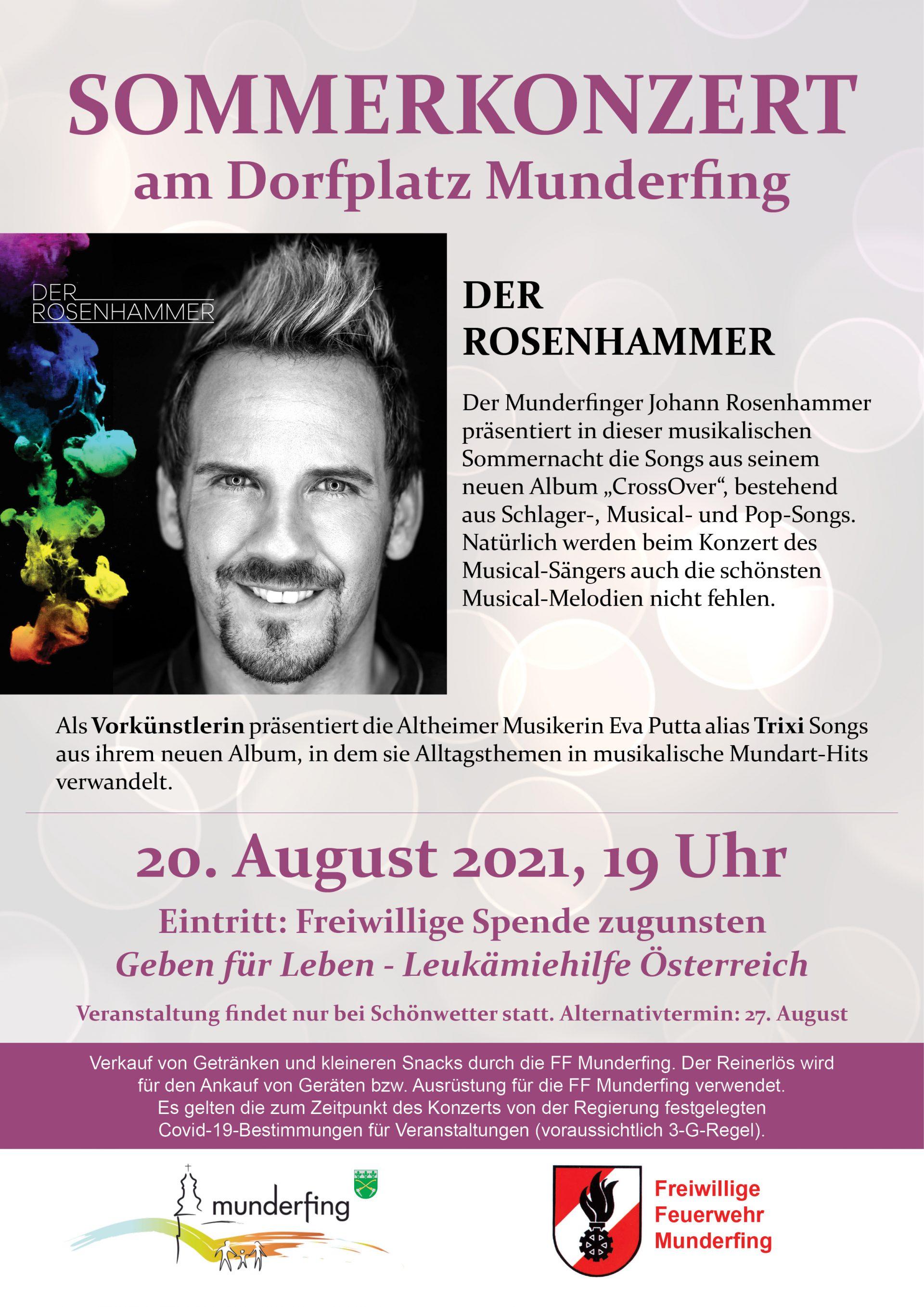 Dieses Bild zeigt das Plakat des Sommerkonzerts am Dorfplatz Munderfing am 20. August 2021.